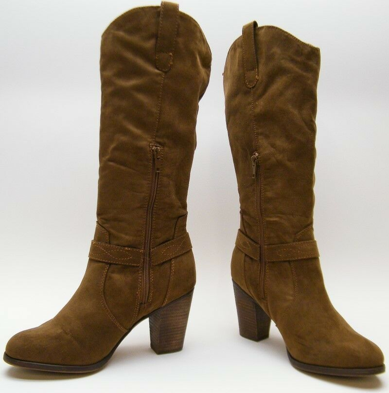 MADDEN GIRL ARKANA BROWN TALL HARNESS BOOTS COWBOY WESTERN HIGH HEEL BOOTS HARNESS 9.5~1/2 M 47a403