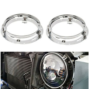 Pair-of-7-034-Headlamp-Headlight-Mounting-Ring-Bracket-For-Jeep-Land-Rover-90-110