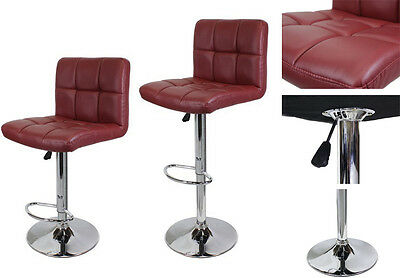 2pcs Wine/Red PU Leather Barstools Modern Hydraulic Bar Stools Adjustable Swivel