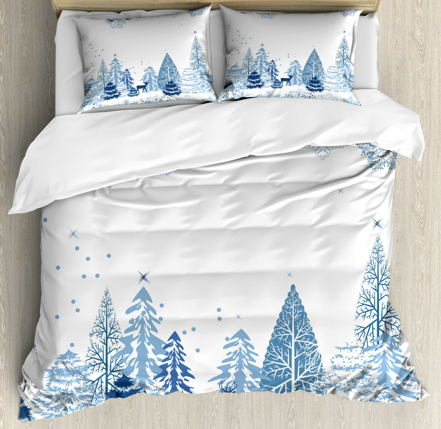 Winter Duvet Cover Set with Pillow Shams Deer Pine Trees Xmas Print
