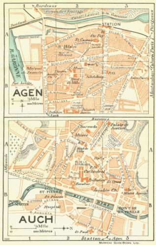 FRANCE Agen; Auch 1926 old vintage map plan chart