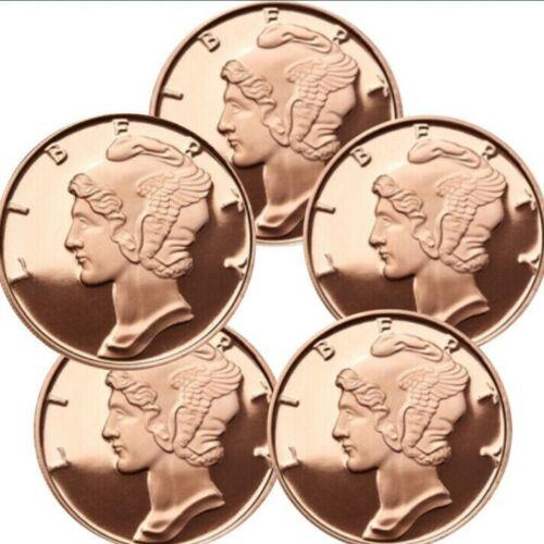 Lot of 5-1 oz Copper Rounds Mercury Dime