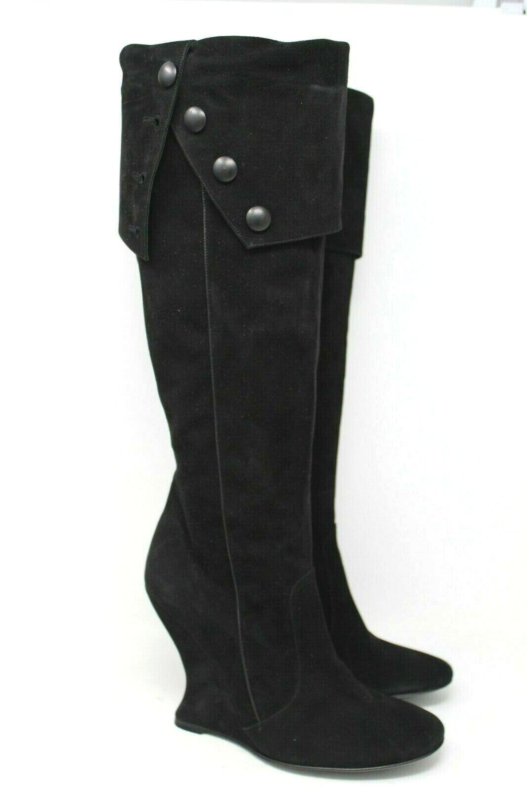 Bcbgmaxazria Gamuza pliegue sobre la rodilla alta botas de cuña cuña cuña en negro - 38 EUR, 8 US  connotación de lujo discreta