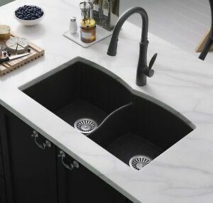 Details about Lavello Double Bowl Undermount Granite Composite Kitchen Sink  Black Subito 200U