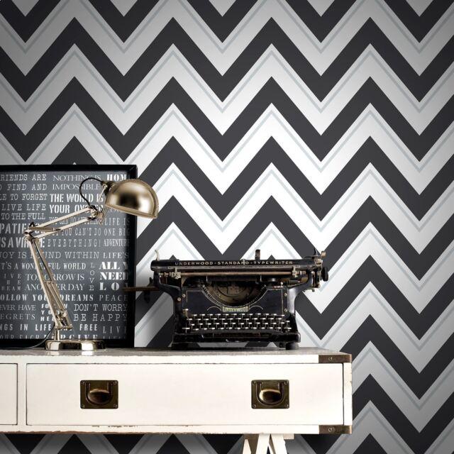 Chevron Papier peint - Noir Et Blanc - Rasch 304107 Géométrique vague