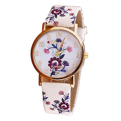 HOT Geneva Womens Watches Flower Fashion Leather Analog Quartz Vogue Wrist Watch