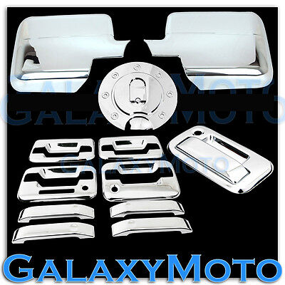 Tailgate Mirror Cover 04-08 Ford F-150 Chrome 2 Door Handle w// Keypad /& PSG KH