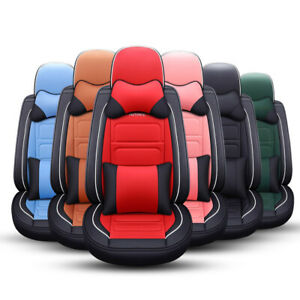 Auto-Car-Seat-Cover-Leather-Protector-Full-Set-Accessories-Universal-Ford-Honda