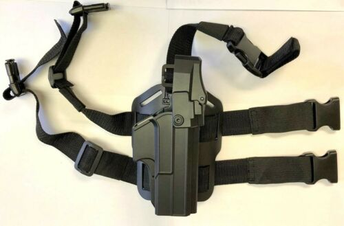 Level III Duty OWB thumb release Holster with Drop leg platform for Glock 17,22