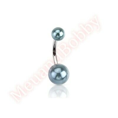 Black Pearl Colour Ball Navel Ring Belly Button Bar Body Piercing Jewellery