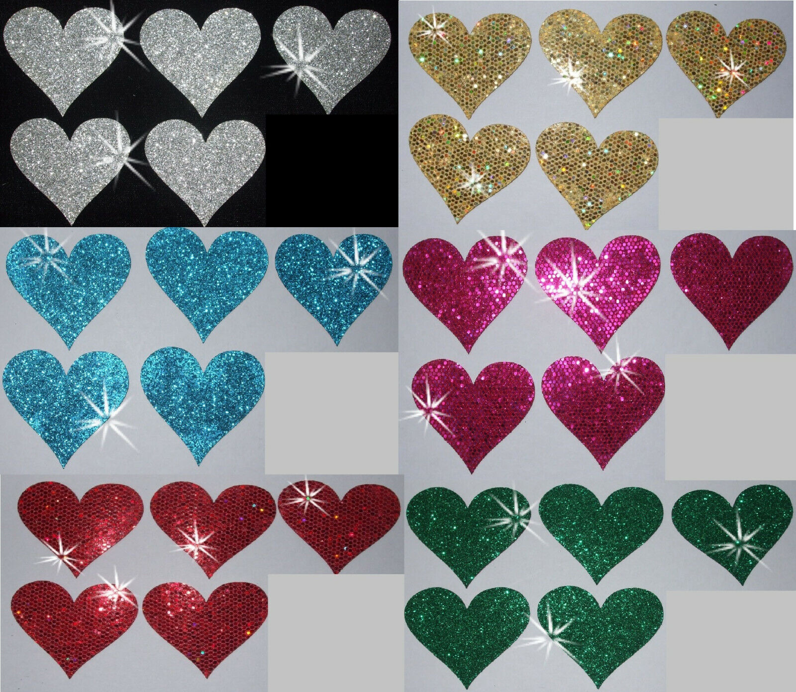 FABRIC SEQUIN 40mm HEARTS IRON-ON DIY TSHIRT TRANSFER PATCH CARD MAKING TOPPER