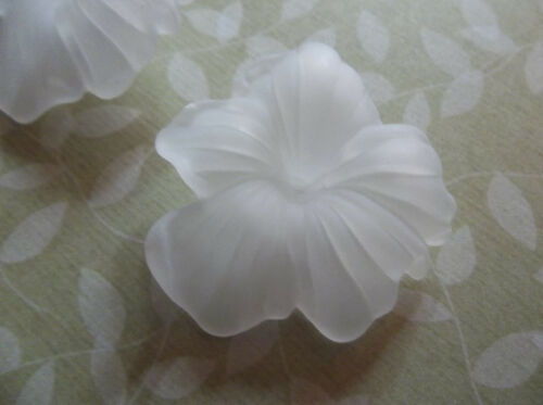 Flower Beads Flower Pendants Matte Crystal White 26mm Made in Germany Qty 6
