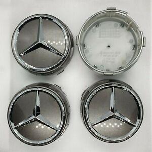 4x SILVER AMG ALLOY CAR WHEEL BADGES CENTRE CAPS Fits MERCEDES BENZ 75mm