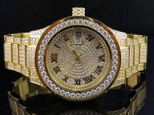 Mens Jewelry Unlimited Yellow Gold Steel Simulated Diamond Watch 45MM DJ-01