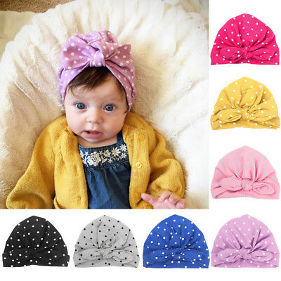 Baby Toddler Infant Elastic Beanie Cap Turban Cute Polka Dots Hat Hair Head Wrap