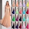 Stock Chiffon Straps Long Formal Ball Evening Party Bridesmaid Dress Size 6-18