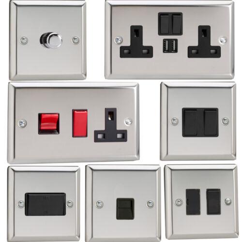 etc Avec Noir Inserts douilles Varilight Miroir Chrome Standard plaque interrupteurs