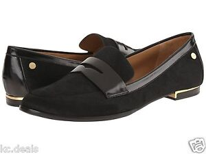 8d893a720cb CALVIN KLEIN CELIA BLACK HAIR CALF FLAT LOAFER WOMEN SHOE AS261