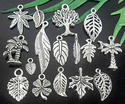 Wholesale lots Tibetan Silver Leaves Charms Lead-Free Optional