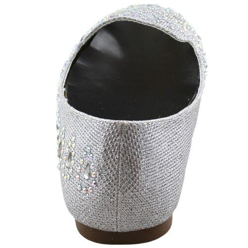 New women/'s shoes rhinestones ballet flats blink blink wedding prom silver