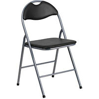 Black Vinyl Folding Chair Padded Seat Back Rest Steel Frame Silver In Out Door