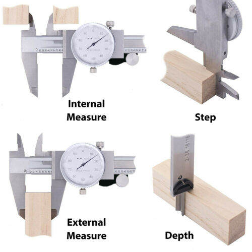 Dial Caliper 0-6 Inch Double Shock Proof Stainless Steel Body SAE Measuring Tool