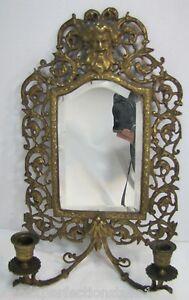 Antique-1800s-Victorian-Bronze-Bachuus-Bevel-Edge-Mirror-dual-candle-lite-ornate