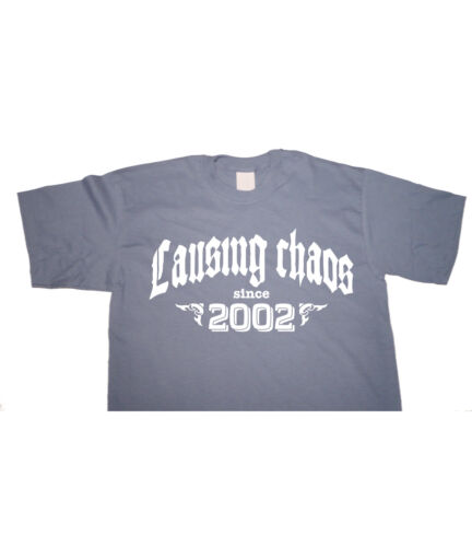 Birthday T-shirt gift funny present vintage fun age CAUSING CHAOS SINCE 2002