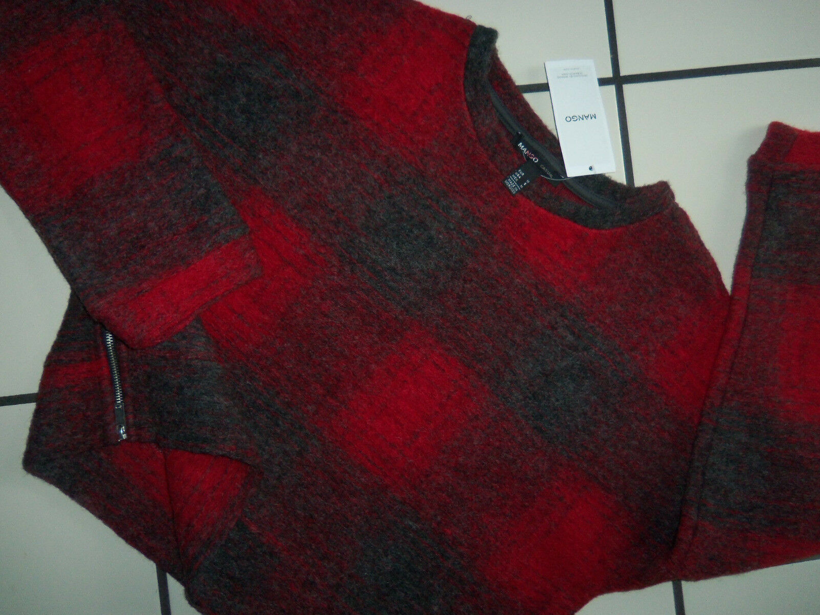 NWT New  MANGO Boiled Wool SIDE ZIPPERS Cropped Shadow Plaid SWEATER S