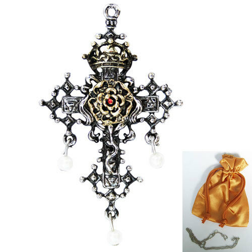 Hampton Court Rose Cross Tudor Pendant Necklace Lost Treasures of Albion LT03