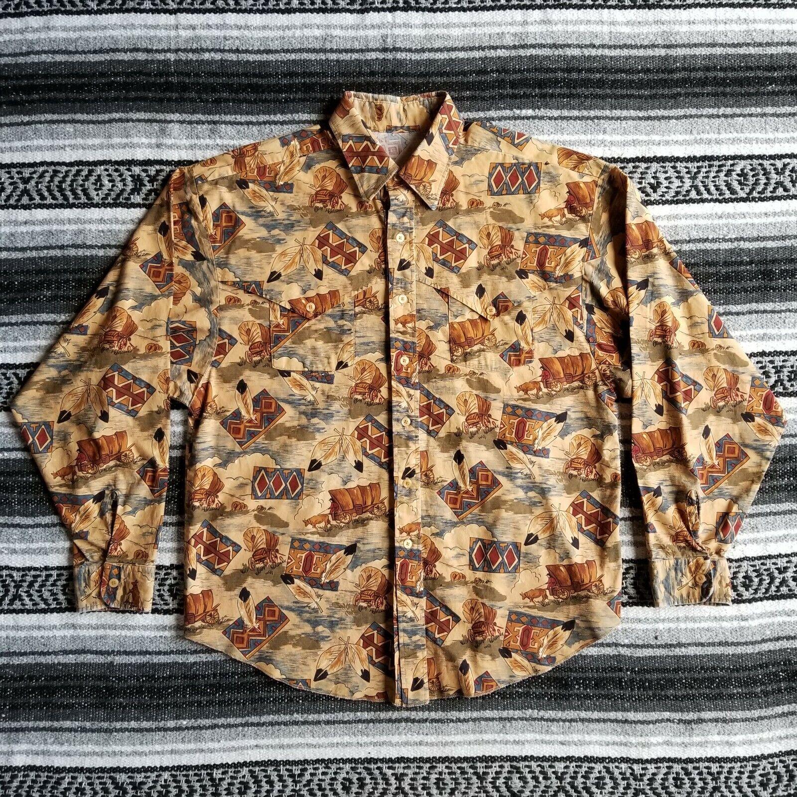 Vtg Unbranded Sz L   XL Casual Button Down Western Shirt Carriage Wagon Print