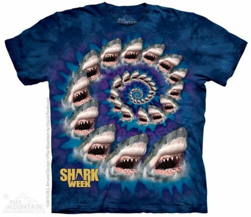 The Mountain 100/% Cotton Kids T-Shirt Blue Tee Spiral Shark Size M USA Made NWT