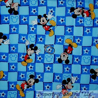 BonEful Fabric FQ Cotton Quilt Blue Red White Block Baby Boy Mickey Mouse Disney