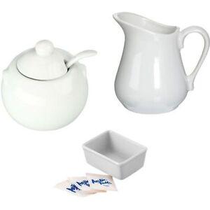 NEW-Porcelain-White-Creamer-Pitcher-Sugar-Bowl-amp-Sugar-Packet-Holder-Set