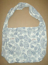 Free People Large Paisley Pattern Tote Bag Light Weight Linen Cloth Blue