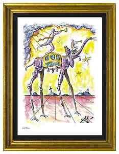 Salvador-Dali-Signed-Hand-Numbered-Ltd-Ed-034-Celestial-Elephant-034-Print-unframed