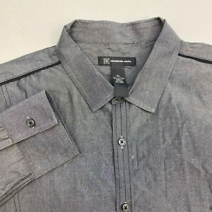 INC-International-Concepts-I-N-C-Button-Up-Shirt-Mens-XL-Gray-Long-Sleeve-Casual