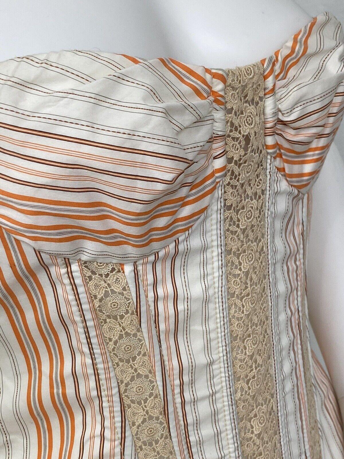Vintage Dolce Gabbana Cotton, Lace Corset Top Bus… - image 5