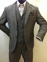 Mens Brown Tweed Herringbone Blazer Jacket Fitted Smart Casual Retro Vintage