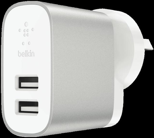 NEW Belkin F7U049AUSLV Dual Port 24W USB AC Wall Charger - Silver