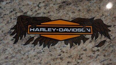 "Harley Davidson Retro Orange Flames Bar /& Shield Window Decal Inside Vintage 12/"""