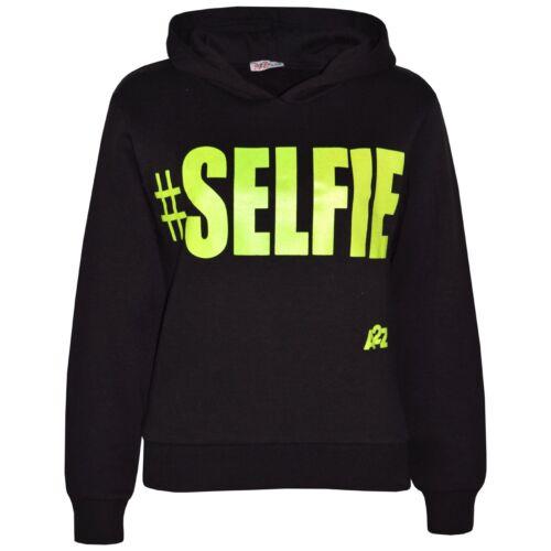 Kids Boys Girls Sweat Shirt Tops #Selfie Hooded Hoodie Jumpers New Age 5-13 Year