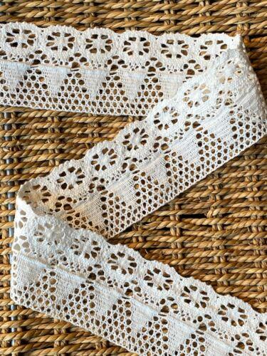 """laverslace Ivory Vintage Floral Cotton Cluny Crochet Lace Trim 2.25/""""//6cm"""