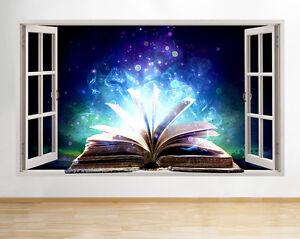 C406-Libro-Magico-fresca-Leer-Living-p-pegatina-pared-vinilo-3d-habitacion-ninos