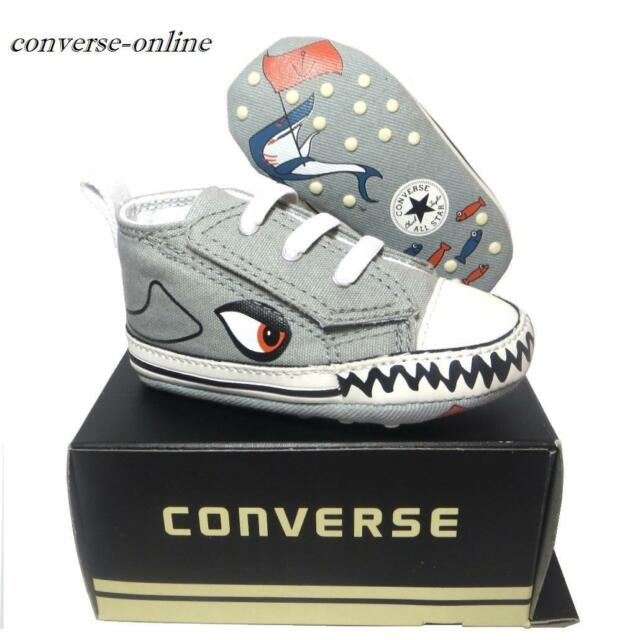 Baby Boys Converse All First Star Shark Slip on Crib Trainers Shoes 19 UK  Size 3 for sale online  1ad10f20a