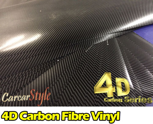 4D Gloss Black Carbon Fibre Vinyl Wrap Sticker Air//Bubble Free All Size Cheapest