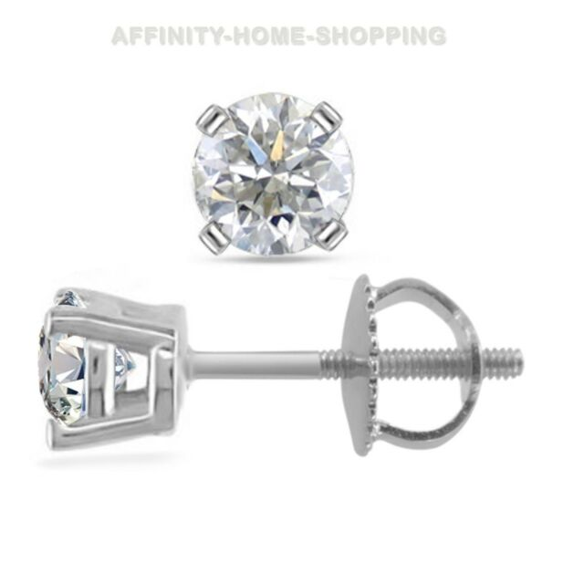 1 3 Ct Round Brilliant Cut 14k White Gold Diamond Stud Earrings