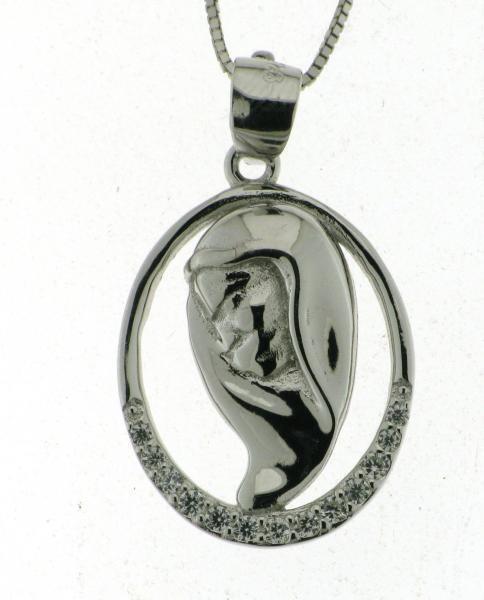 Ciondolo Mawomen profilo in silver 925 Rodiato Mawomen con Zirconi Bellissima