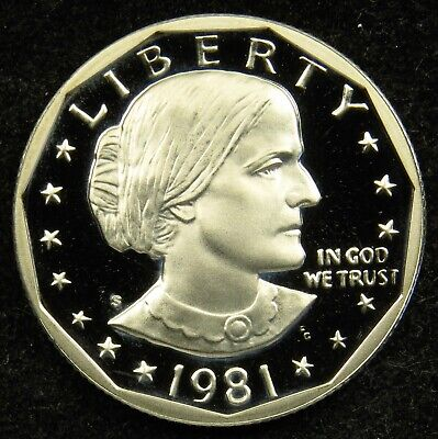 1981-S Proof Susan B Anthony Dollar Type 2 Clear S/' Deep Cameo BU