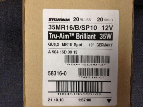 40 PCS  SYLVANIA 58316 35MR16//B//SP10  TRU-AIM BRILLIANT 35W GU5.3 MR16 SPOT 10◦